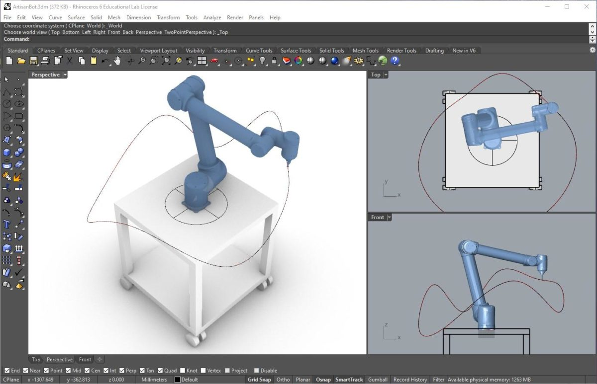 Rhinoceros 3D software: Quick modelling, and straightforward control of robots. In this example a simulation of a UR10 robot is tracing a loop drawn in Rhino by the user.